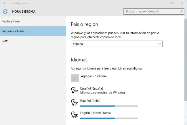 Agregar otros idiomas en Windows 10