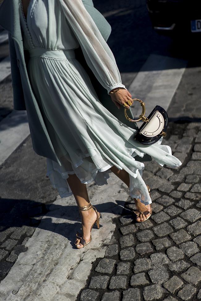 Aimee Song Of Style Paris Fashion Week Chloe Dress Mini Bag