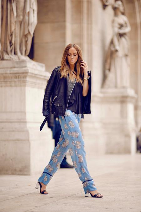 Pantalones palazzo estampados y perfecto de cuero negro
