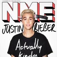 Justin Bieber con un cuchillo atravesándole el cráneo en la portada de la revista NME