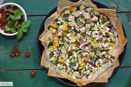 Tarta de calabacín, berenjena y tomate con pasta brick, receta fácil para disfrutar de las verduras