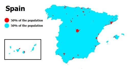 La mitad de la gente vive en las zonas rojas: nueve mapas que demuestran que nos encanta vivir apiñados