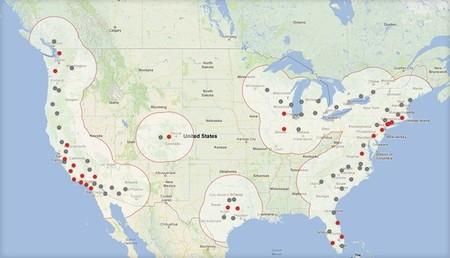 Mapa de la Red de Supercargadores de Tesla (Otoño 2013)