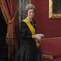 La reina Doña Sofía en la recepción al presidente de México (2014)