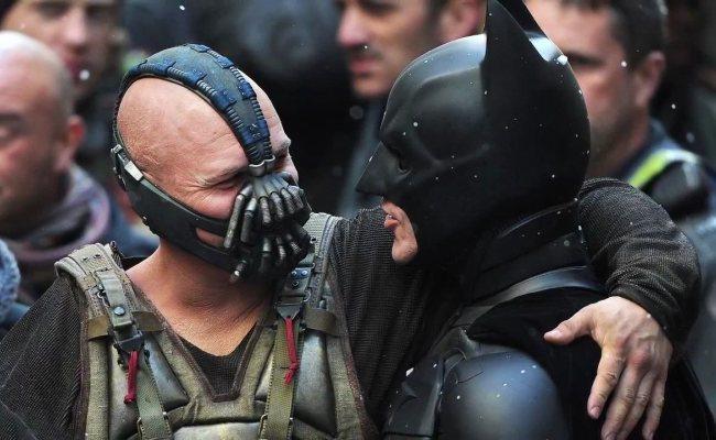 Tom Hardy y Christian Bale durante el rodaje de Batman 3