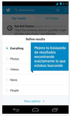 Twitter para Android se actualiza con nuevos filtros de búsqueda