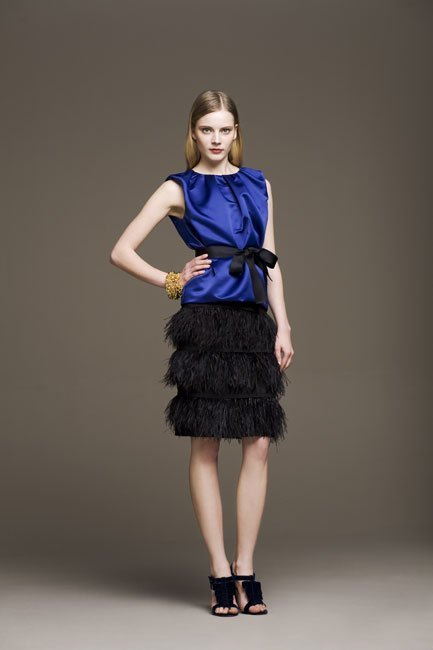 Falda de plumas de Carolina Herrera