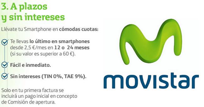 Venta a plazos de Movistar con comisión de apertura