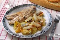 "Lubina asada con hortalizas ""de raíz"" a la sidra. Receta"