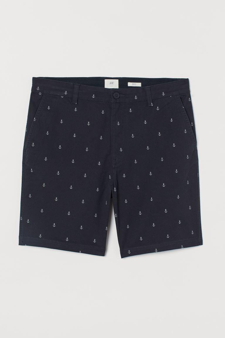 Pantalón corto en algodón con estampado de anclas