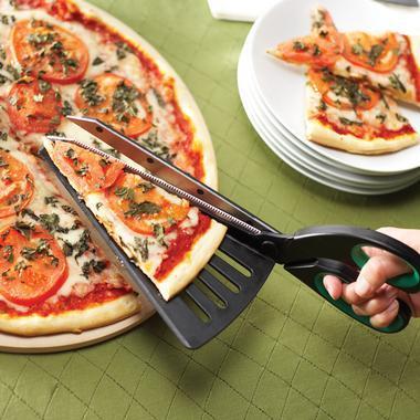 Tijeras con espátula integrada para la pizza