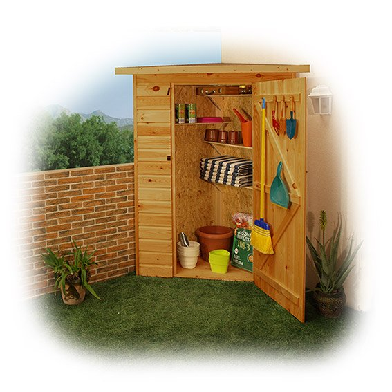 Armarios de madera para la terraza for Armario herramientas jardin