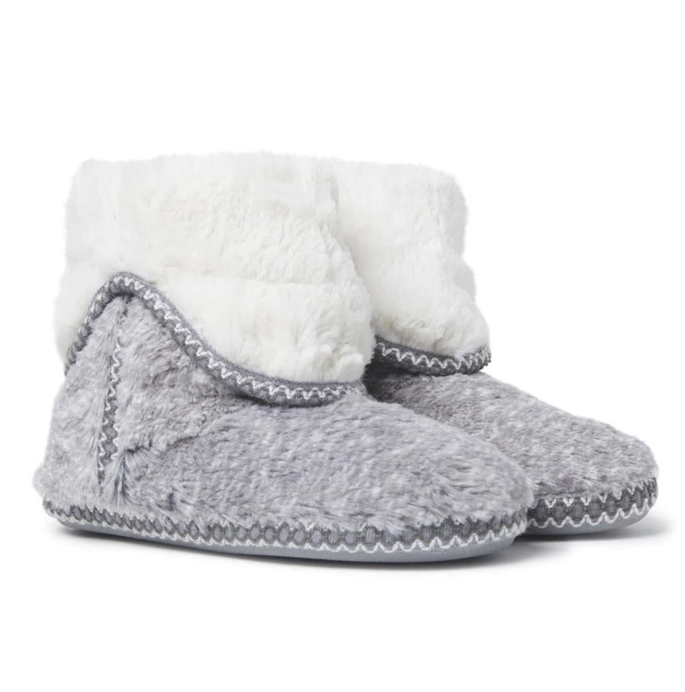 Zapatillas de casa de mujer Dearfoams de botín en gris
