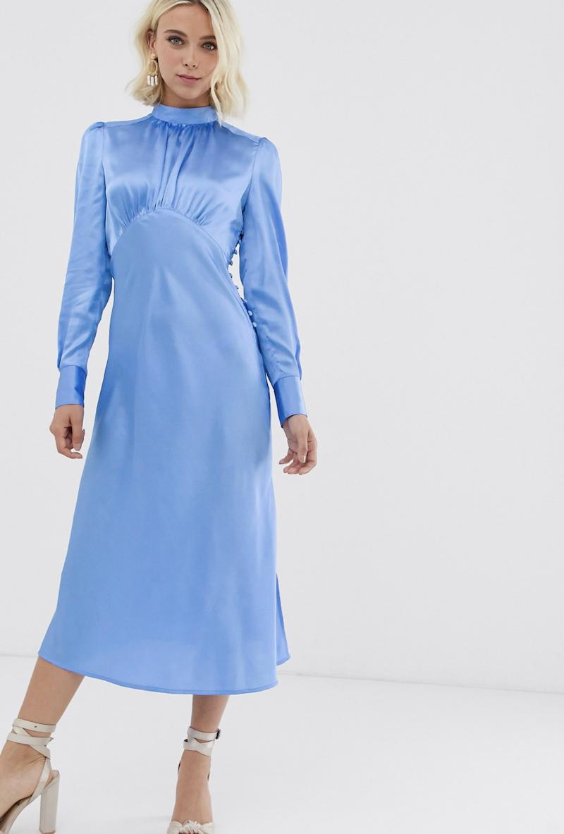 Vestido de tarde midi de satén con cuello alto en azul de ASOS DESIGN