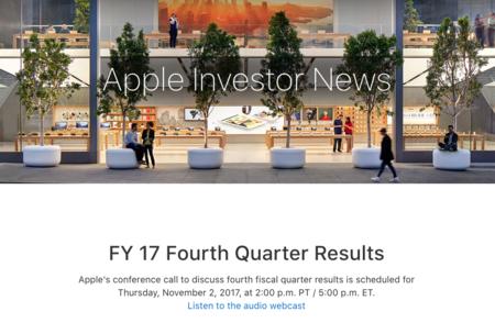 Apple anunciará sus últimos resultados financieros de 2017 el 2 de noviembre