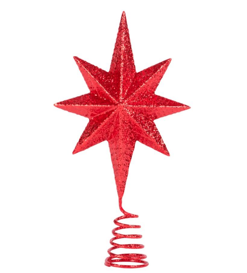 Estrella con purpurina roja para árbol de Navidad