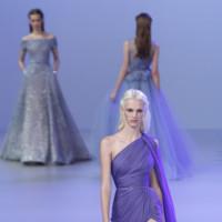 vestido asimétrico morado Elie Saab Alta Costura Primavera-Verano 2014