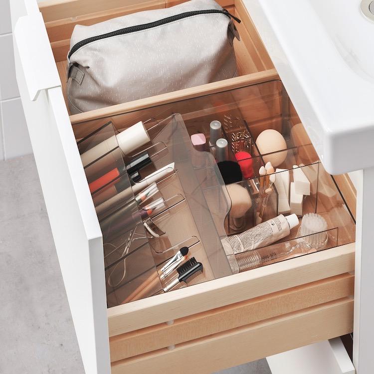 Caja con compartimentos, ahumado32x28x10 cm