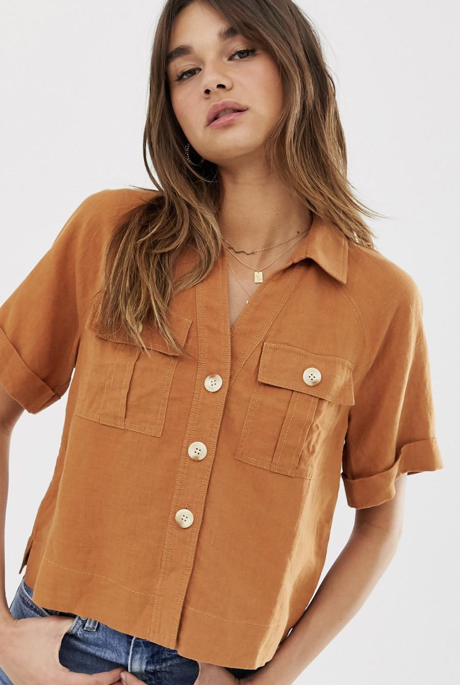 Camisa con bolsillo de lino Eldora de Whistles