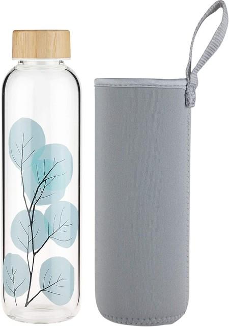 Fcsdetail Botella De Agua De Cristal Sin Bpa Botella De Agua De Vidrio De Borosilicato Con Funda De Neopreno Y Tapa De Bambu 420ml 660ml 1000ml