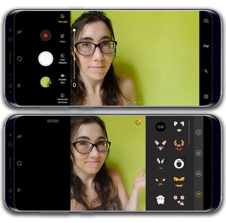 Samsung Galaxy S8+, interfaz de cámara frontal