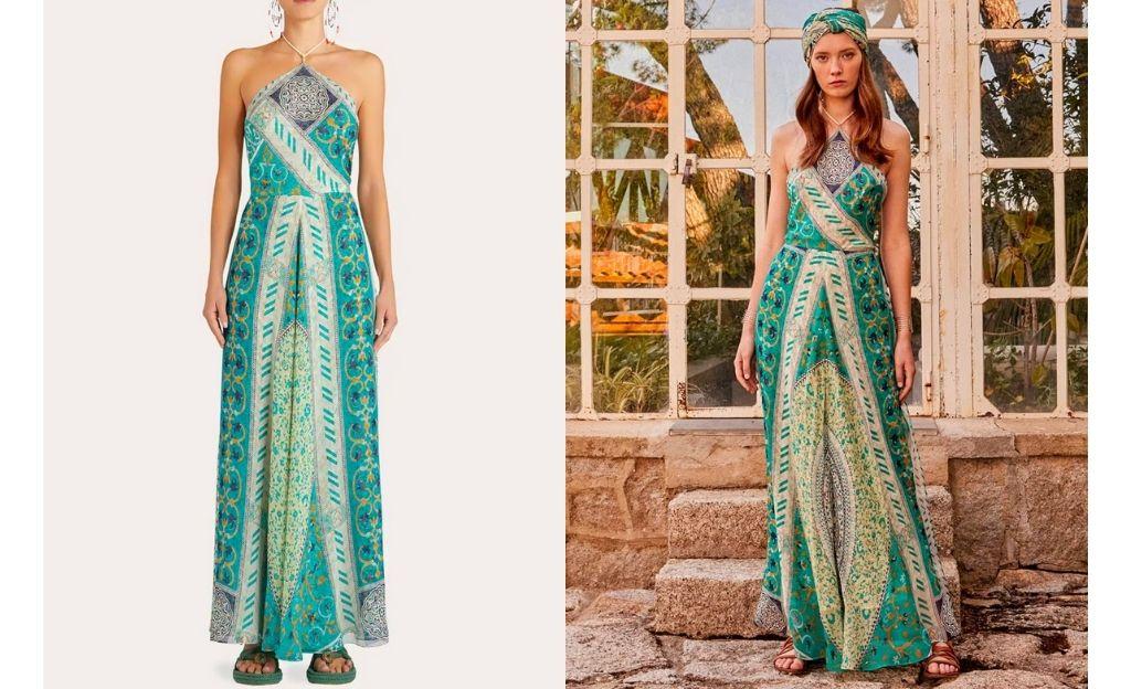 Vestido largo de seda estampado de Etro