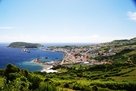 Cidade Da Horta Vista Parcial Do Cimo Do Miradouro De Nossa Senhora Da Conceicao Concelho Da Horta Ilha Do Faial Acores Porttugal