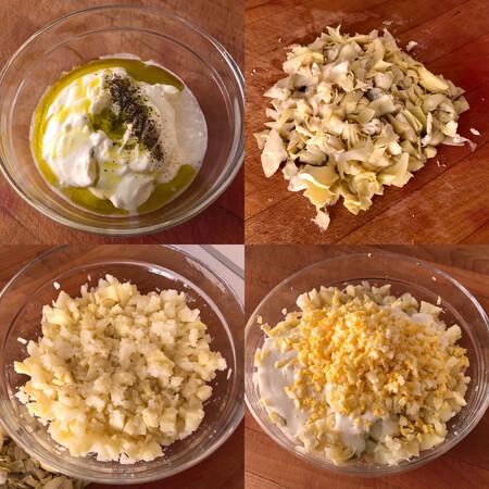 Ensaladilla de patata, alcachofa y huevo paso a paso