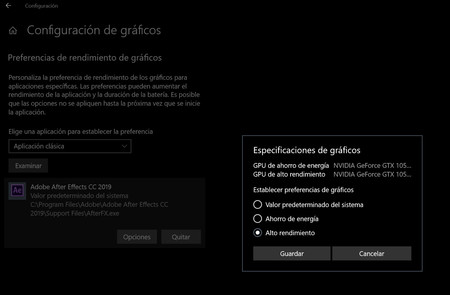 Alto Rendimiento Gpu Windows 10