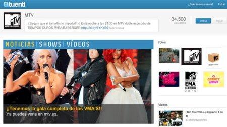 Un ejemplo de Página comercial en Tuenti: MTV