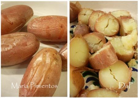 Asamos o cocemos y troceamos las patatas