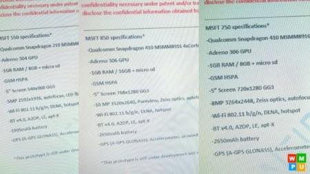 Leaked Specs Lumia 550 750 850