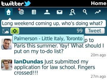 Twitter 1.1 para BlackBerry, ahora con geolocalización en tus tweets