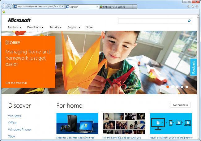 Web Microsoft estilo Metro