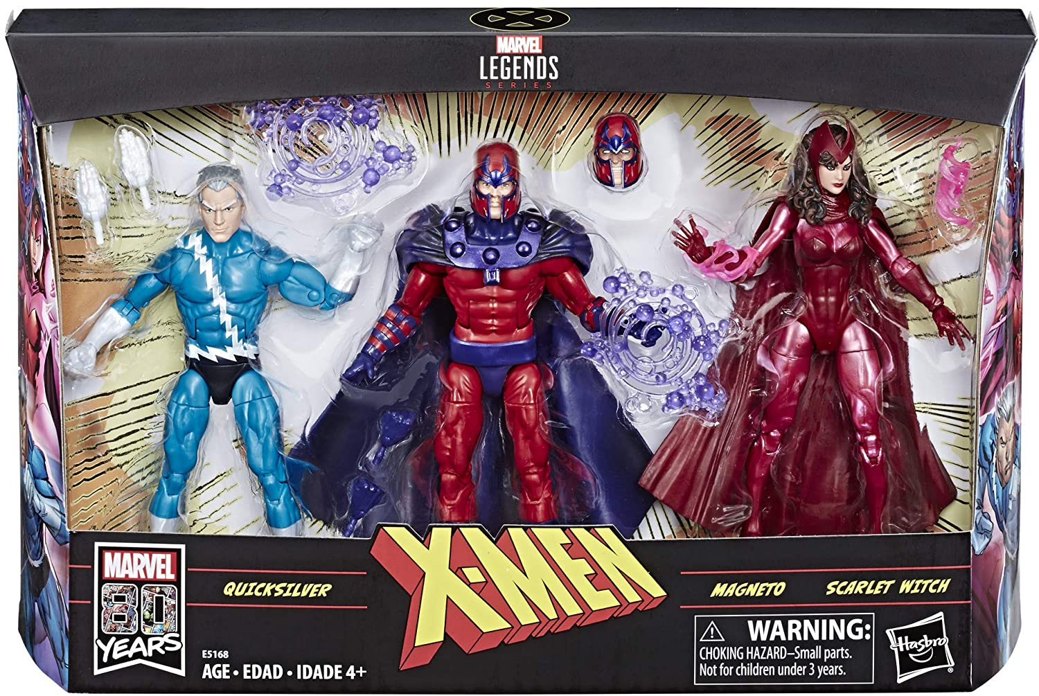 Marvel Legends 80 Aniversario Figuras de 6 Pulgadas 3-Pack de Magneto, Quicksilver y Scarlet Witch Action Figure