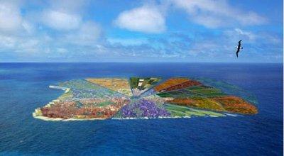 Una isla hecha de plástico reciclado