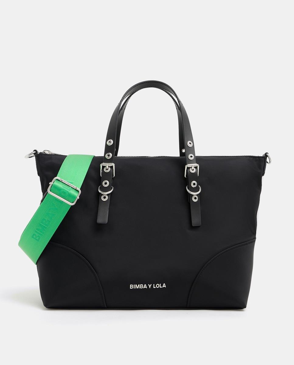 Bolso shopper grande Bimba y Lola de nylon en negro con asa extraíble verde