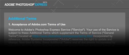 La sección octava de los términos de uso de Photoshop Express: que no cunda el pánico