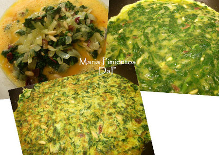 Tortilla de espinacas y piñones
