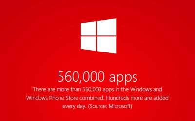Las tiendas de Windows alcanzan las 560.000 aplicaciones, pero están creciendo más lentamente