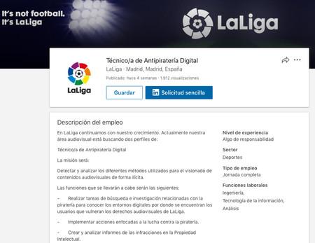 Tecnico A De Antipirateria Digital Laliga Linkedin 2018 03 07 18 12 14