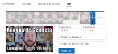Crea tus gifs animados a partir de vídeos con YouTube