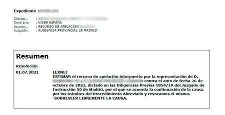 Captura de la resolución de la Audiencia Provincial de Madrid donde se cierra el asunto y queda protegida la libertad de expresión de los dos usuarios