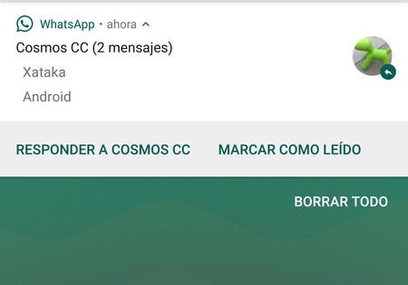 WhatsApp para Android ya te permite marcar como leído un mensaje desde la notificación