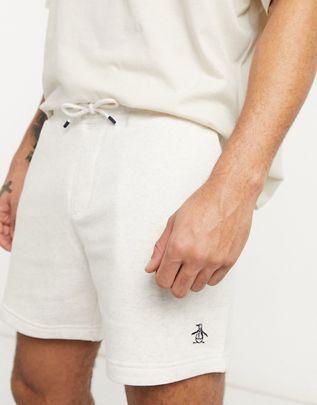 Shorts de chándal gris claro jaspeados con logo de Original Penguin