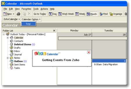Pluging de Zoho Calendar para Outlook