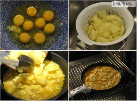 Paso a paso receta de frittata de patata, feta y pesto