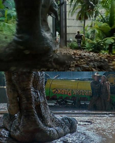 Jurassic World y Jurassic Park, pata de dinosaurio