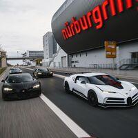 Cuatro Bugatti que suman 20 millones de euros y 6.100 CV, en Nürburgring: da igual cuando veas esto porque la imagen es eterna