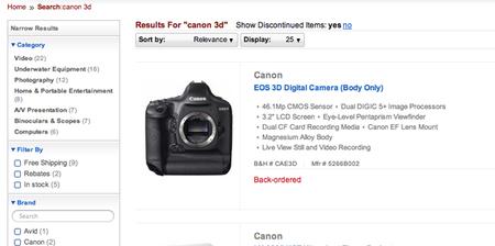 ¿Está preparando B&H la venta de la nueva Canon 3D de 46 Mp u otro posible engaño?